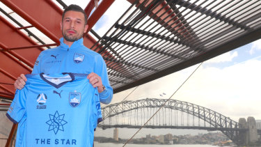 New icon: Kosta Barbarouses at his unveiling as a Sydney FC signing