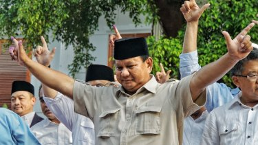 Prabowo Subianto gives a press conference as early counts indicate Joko Widodo has been re-elected as Indonesia's president.
