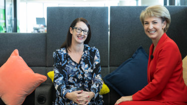 Kaylie Smith, of Facebook, and Michaelia Cash, Minister for Small and Family Business, launch the program at Facebook's headquarters in Melbourne.