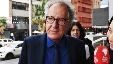 Geoffrey Rush arriving at court on Monday.