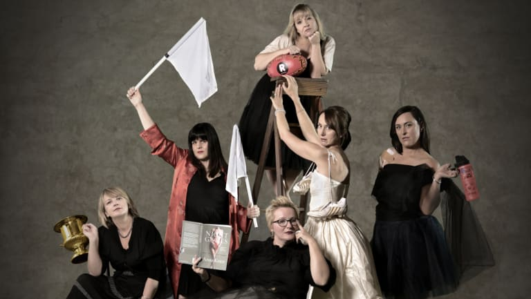 The Outer Sanctum's hosts, clockwise from left: Felicity Race, Alicia Sometimes, Nicole Hayes, Emma Race, Lucy Race, Kate Seear.