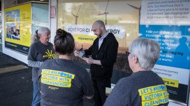 Volunteers working for Environment Victoria in Frankston canvass people on the street. Political groups are increasingly using data from petitions and social media to target voters.