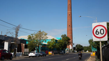 The former Provans premises at 64 Alexandra Parade, Clifton Hill under the historic shot tower.