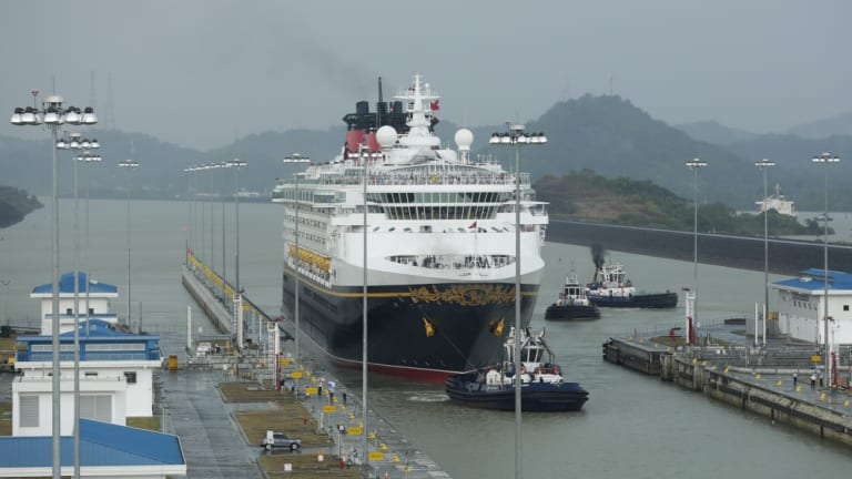 The Disney Wonder cruise ship sails toward the Cocoli Locks, part of the new Panama Canal expansion bankrolled by China.