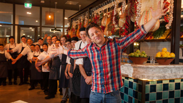 Jamie Oliver at his Canberra restaurant in 2017.
