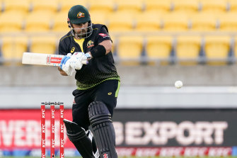 Australia's Aaron Finch bats against New Zealand during the 4th T20 cricket international match at Wellington Regional Stadium in Wellington, New Zealand, Friday, March 5, 2021. (John Cowpland/Photosport via AP)