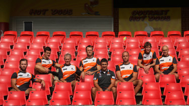 Luke Power (second from right) with the rest of the GWS Giants coaching staff in 2015 (from left): Mark McVeigh, Amon Buchanan, Al McConnell, Dean Brogan, Leon Cameron, Chad Cornes and Brett Hand.