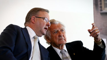 Anthony Albanese, left, with Bob Hawke in 2016.