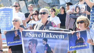 Hakeem al-Araibi's supporters rally in Federation Square to call for his release from a Thai prison.