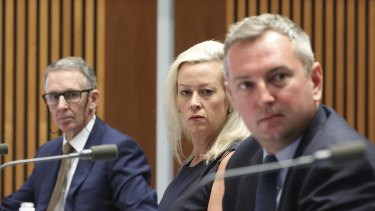 Side by side, they gunned together: News Corp's Campbell Reid (left), AAP's  Emma Cowdroy and Nine's Chris Janz during Friday's Senate hearing.
