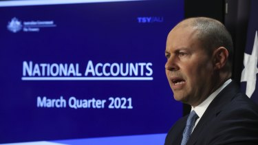 Josh Frydenberg on June 2 talking up Australia's economic recovery from COVID. He now faces a sharp fall in GDP due to the current lockdowns.