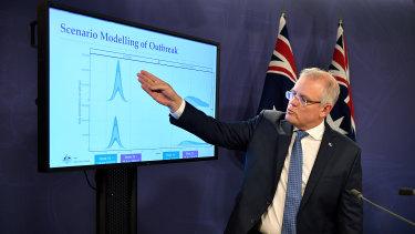 Prime Minister Scott Morrison at a media conference on Sunday.