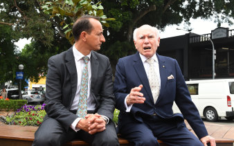 John Howard with Dave Sharma, Liberal candidate for Wentworth.