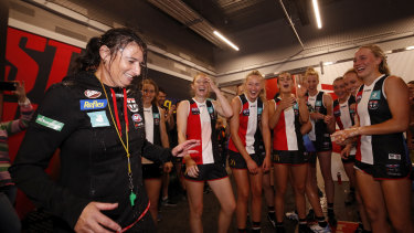 Saints coach Peta Searle (left) is the only female coach in the AFLW and was one of the few women to have been employed in a men's team's football department.