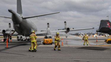 Firefighters in action during the major emergency training exercise for Avalon Airport.