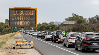 No end in sight: a queue of frustrated motorists stretches back into NSW from the border town of Albury.