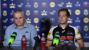 Anthony Griffin and Matt Moylan attend a press conference during their time together at the Penrith Panthers.