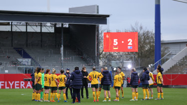 Players of Australia huddle on the pitch following the Women's International Friendly match between Germany and Australia.