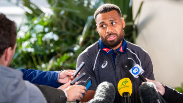 Samu Kerevi addresses the media in Perth after Australia's emphatic win over the All Blacks.