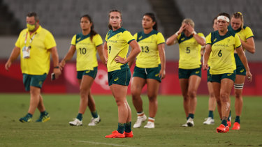 Australia's women's sevens team after their quarter-final loss to Fiji.