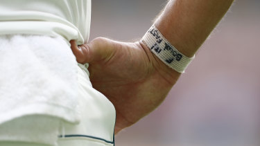 The message on Starc's wrist during the Australian summer.