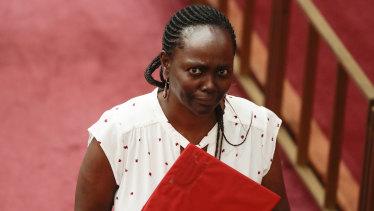 Senator Lucy Gichuhi arrives in the Senate on Tuesday.