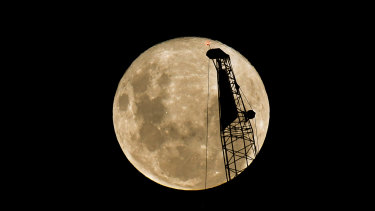 The supermoon over Melbourne.