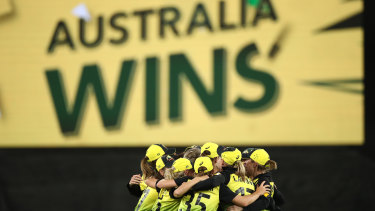 Champion effort: Australia celebrate their historic T20 World Cup victory.