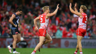 Isaac Heeney celebrates scoring as the Swans finished strongly.