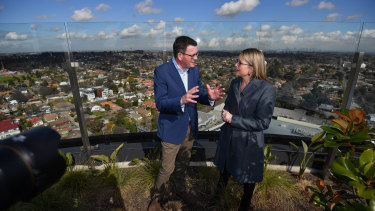 Victorian premier Daniel Andrews and Public Transport Minister Jacinta Allan at Box Hill to talk to media about Labor's plan for the Suburban Rail Loop the underground train system.
