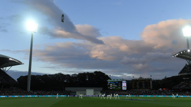 Novelty: Sunset during the second Ashes day/night Test match at Adelaide Oval.