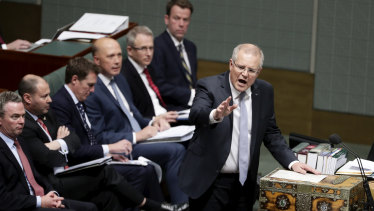 Prime Minister Scott Morrison and his frontbench.