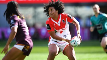 Cited: Teuila Fotu-Moala in action against the Broncos on Sunday.