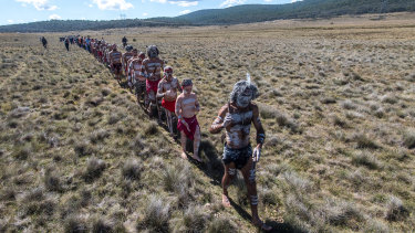 Walking the land: clans on their way to a Narjong ceremony in Kosciuszko National Park.
