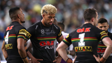 Viliame Kikau and the Panthers during last year's grand final.