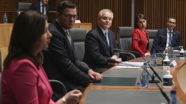 From left: Queensland Premier Annastacia Palaszczuk, Victorian Premier Daniel Andrews, Prime Minister Scott Morrison, NSW Premier Gladys Berejiklian and SA Premier Steven Marshall in Canberra in December.