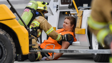 One of the volunteers who portrayed an injured passenger during Tuesday's emergency training exercise at Avalon Airport.
