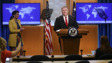 US Secretary of State Mike Pompeo takes questions from reporters on Tuesday.