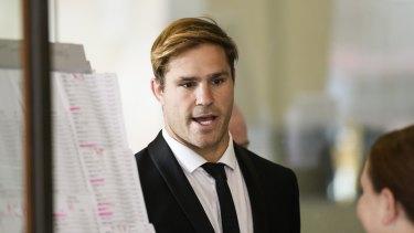 Jack de Belin arrives at court on Wednesday.