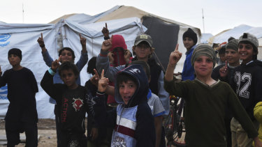 Islamic State children in the foreign annex of al Hawl camp in north-east Syria.