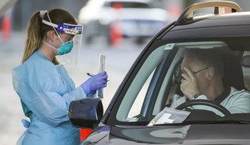 Coronavirus drive through testing clinic at Bondi Beach