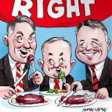 All Right on the night:  Richard Marles Anthony Albanese and Joel Fitzgibbon