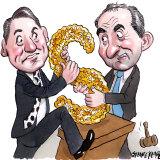 Geoffrey Smith and Patrick Drahi. Illustration: John Shakespeare