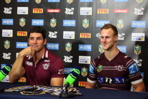 Still close: Daly Cherry-Evans and then Manly coach Trent Barrett.