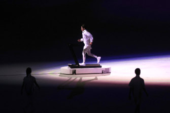 The protagonist of the ceremony, the lone athlete.