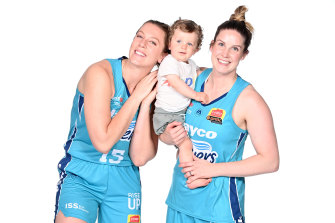 Southside Flyers guard Steph Blicavs, right, pictured with her son Arlo and sister-in-law and teammate Sara Blicavs.