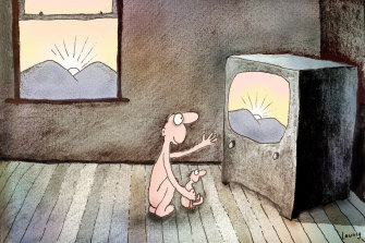 Parent, child and device: a Leunig cartoon from 1972.