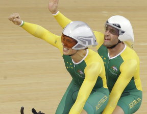 Scott McPee and Kieran Modra after winning gold in the Men's Individual B Pursuit at the 2012 Paralympics Games in London.