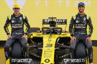 Renault F1 drivers Daniel Ricciardo, right, and Esteban Ocon, left, pictured in Melbourne before the Australian Grand Prix was cancelled.