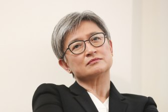 Senator Penny Wong during the launch of Peter Hartcher's book, Red Zone: China's Challenge and Australia's Future, at Old Parliament House on Wednesday.